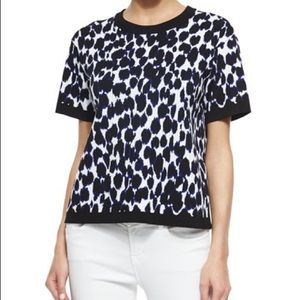 Kate Spade Sweater Leopard Print Short Sleeve